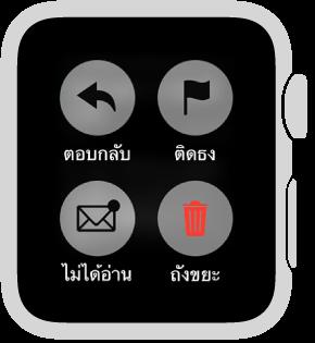 กดหน้าจอในขณะที่คุณกำลังอ่านข้อความใน Apple Watch เพื่อทำเครื่องหมายเป็นยังไม่ได้อ่าน ติดธง หรือส่งข้อความนั้นไปที่ถังขยะ