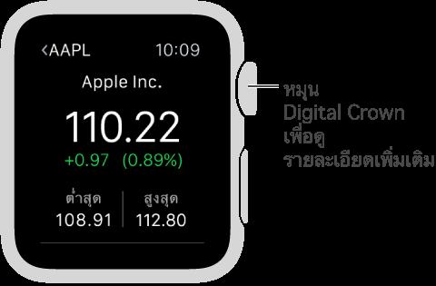 ข้อมูลเกี่ยวกับหุ้นในแอพหุ้น หมุน Digital Crown เพื่อดูรายละเอียดเพิ่มเติม