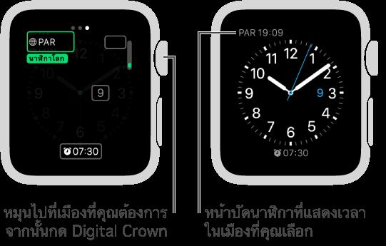 หน้าจอนาฬิกาสองหน้าจอ หน้าจอหนึ่งแสดงการเพิ่มเวลาของเมืองอื่นลงในหน้าปัดนาฬิกา และอีกหน้าจอหนึ่งแสดงเวลาที่แสดงในหน้าปัดนาฬิกา