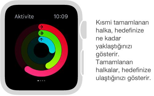 Aktivite bakışındaki renkli halkalar günlük Hareket, Egzersiz ve Duruş hedeflerinizle ilgili ilerlemenizi gösterir.