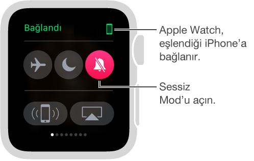 Saatinizin ve iPhone'unuzun bağlantı durumunu görebileceğiniz ve Uçak Modu, Rahatsız Etme veya Sesi Kapat ayarlarını yapabileceğiniz Ayarlar bakışı. iPhone'unuza ping de atabilirsiniz. Sesi Kapat seçili.