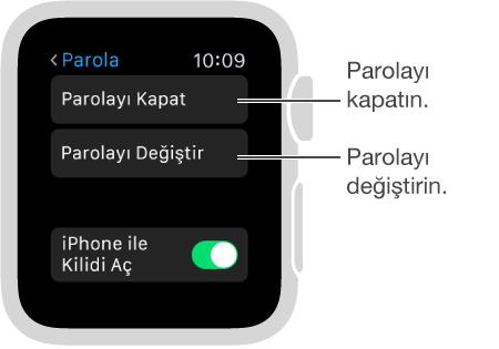 Apple Watch'ta parola ayarları ekranı. Parolayı Etkisizleştir ile Parolayı Değiştir'i gösteren imleç.