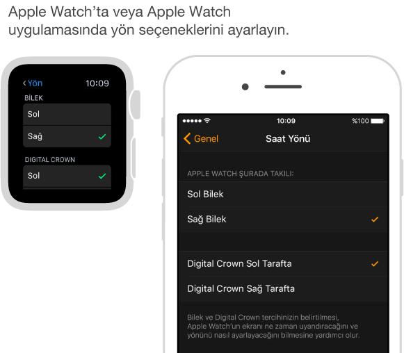 Apple Watch'ta Yön ayarlarını ve iPhone'da Apple Watch uygulamasındaki aynı ayarları gösteren yan yana ekranlar. Bilek ve Digital Crown tercihinizi ayarlayabilirsiniz.