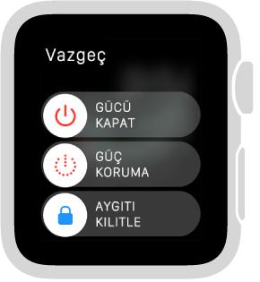 Sol üstte Vazgeç düğmesi olan sürgü ekranı ve 3 sürgü: Üstte gücü kapatma, ortada Güç Koruma ve altta Aygıtı Kilitle.
