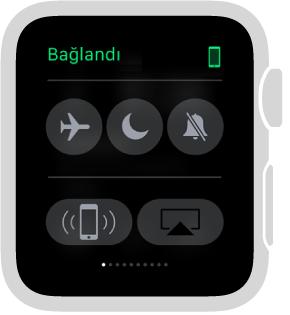 Saatinizin ve iPhone'un bağlantı durumunu görebileceğiniz, Uçak modunu ayarlayabileceğiniz, Rahatsız Etme ya da Sesi Kapat ayarlarını yapabileceğiniz Ayarlar bakışı. iPhone'unuza ping de atabilirsiniz. iPhone'a Ping At seçildi.