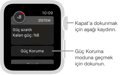 pil azaldı uyarısı, güç koruma moduna geçmek için dokunabileceğiniz bir düğme içerir