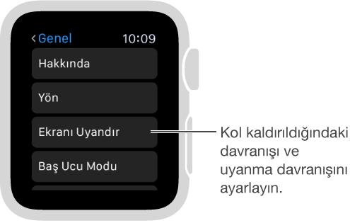 Apple Watch'ta, Kol Kaldırıldığında Etkinleştir seçeneğinin imleç ile gösterildiği Genel Ayarlar ekranı. Ayarlamak için dokunun.