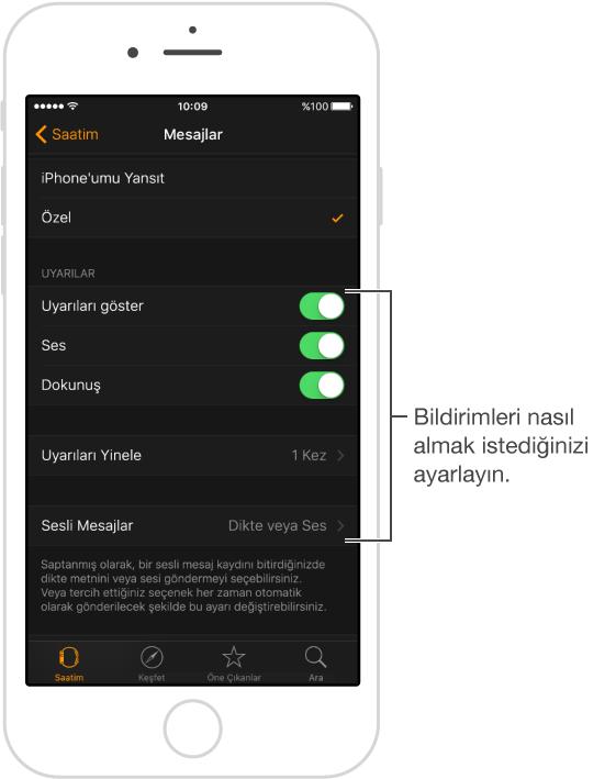 iPhone'da Apple Watch uygulamasında Mesajlar ekranı. Uyarılarınızı özelleştirerek bunların gösterilmesini, sesin açılmasını, dokunuşun açılmasını seçebilir ve uyarıları filtreleyebilirsiniz.