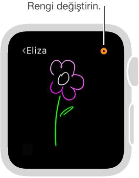 Yaptığınız çizimin rengini değiştirmek için sağ üst köşedeki renk düğmesine dokunun.