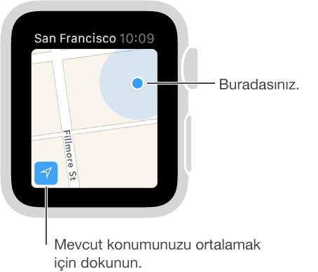 Mavi bir nokta ile gösterilen konumunuzu görmek için haritanın sol alt köşesindeki İzleme düğmesine dokunun.