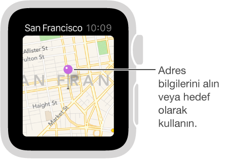 Haritada bir noktanın yaklaşık adresini öğrenmek veya yol tarifi almak üzere hedef olarak kullanmak için harita iğnesi kullanın.
