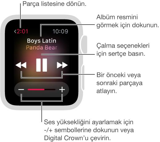 Müzik çalarken parça listesine dönmek için sol üstteki Geri düğmesine dokunun. Önceki İz, Çal/Duraklat ve Sonraki İz düğmeleri ekranın ortasındadır. Ses yüksekliğini ayarlamak için Digital Crown'u çevirin. Parçaları karıştırmak veya tekrar etmek için ya da iPhone yerine Apple Watch'ta dinlemek için ekrana basın.