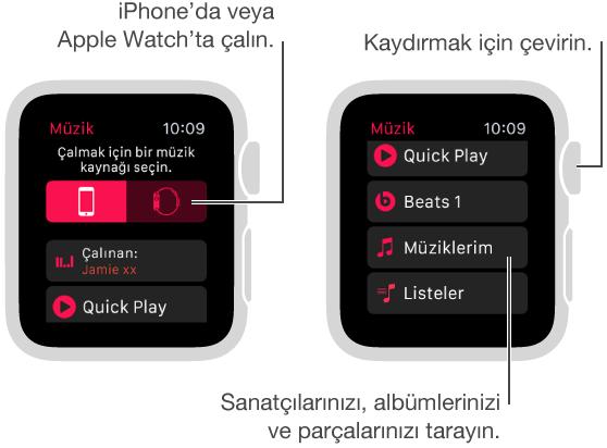 Ana Müzik ekranında kaynak düğmelerini görmek için en üste kaydırın.