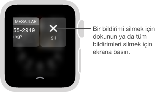 Sil düğmesi, bildirimi sola kaydırdığınızda bildirimin sağında yer alır.