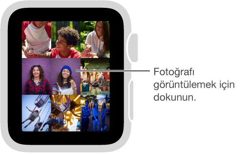 Fotoğraflar uygulamasında, koleksiyondan görüntülemek istediğiniz fotoğrafa dokunun. Koleksiyonu görüntülemek için Digital Crown'u çevirerek belirli bir fotoğraftı küçültün.