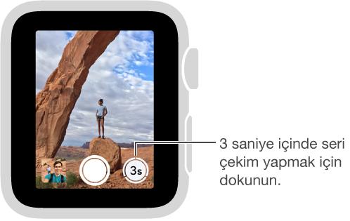 Apple Watch'ta kameranın Uzak vizöründen bakarken Sayaç düğmesi sağ alttadır.