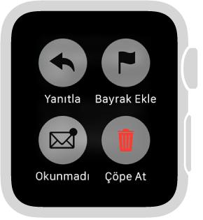 Apple Watch'ta ileti okurken iletiyi Okunmadı olarak işaretlemek, iletiye Bayrak Eklemek ya da iletiyi çöp sepetine göndermek için ekrana basın.