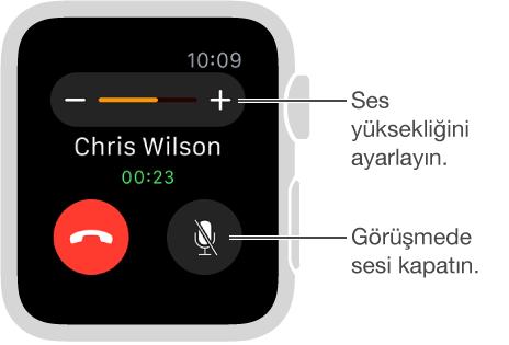 Ses yüksekliğini ayarlayabileceğiniz veya aramanın sesini kapatabileceğiniz, gelen bir telefon aramasını gösteren ekran.