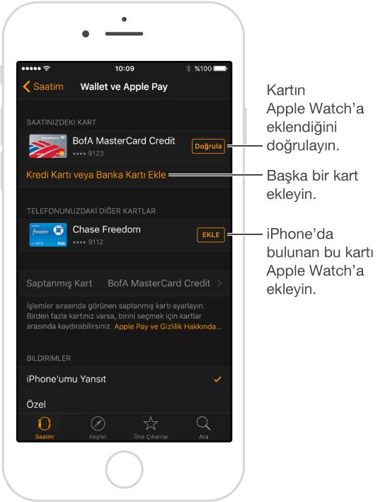 Apple Watch uygulamasında Wallet ve Apple Pay ayarları ekranı. İmleç, Doğrula sözcüğünün üzerindeyken, ödeme kartınız için doğrulama kodunuzu girmek için dokunun. Yeni bir ödeme kartı eklemek için Kredi Kartı veya Banka Kartı Ekle'ye dokunun. iPhone'da önceden bir kartınız varsa, onu Apple Watch'a eklemek için burada kartın yanındaki Ekle'ye dokunabilirsiniz.