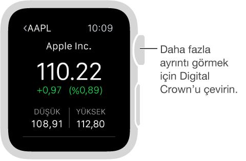 Borsa uygulamasındaki bir borsa hakkında bilgi. Daha fazla ayrıntı görmek için Digital Crown'u çevirin.