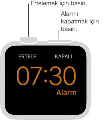 Baş ucu modunda alarmı ertelemek için Digital Crown'a, alarmı kapatmak için ise yandaki düğmeye basın.