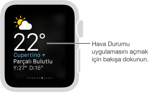Hava Durumu uygulamasını açmak için bakışa dokunulmasını söyleyen belirtme çizgisi ile birlikte açık hava durumu bakışı.