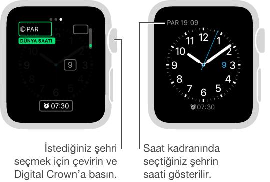 İki saat ekranı: birinde saat kadranına başka bir şehir saati eklendiği gösteriliyor ve diğerinde saat kadranında bulunan saat gösteriliyor.