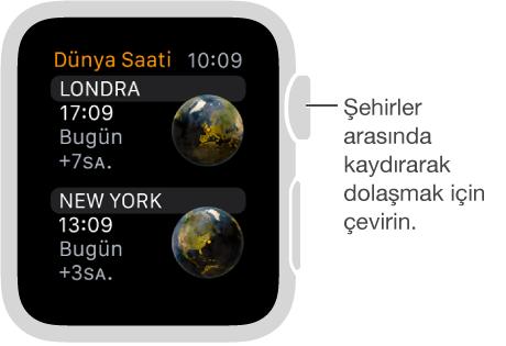 Şehirler listesi ve kaydırma çubuğu olan Dünya Saati uygulaması görüntüsü. Digital Crown'u çevirerek aşağı ya da yukarı kaydırın. Seçmek için dokunun.