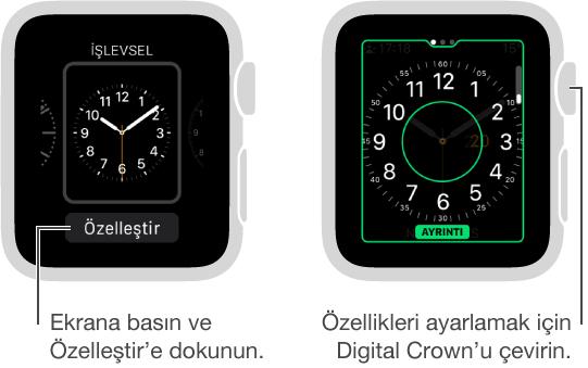 Solda İşlevsel saat kadranı. Özelleştir düğmesine dokunun. Sağda saat ayrıntısı özelliği vurgulu olarak özelleştirme ekranı. Seçenekleri değiştirmek için Digital Crown'u çevirin.