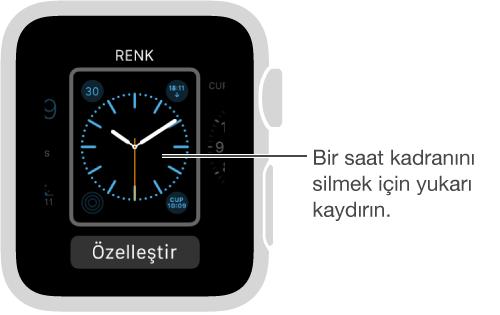 Saat kadranı görüntüleniyor. Saat kadranını silmek için yukarı kaydırın.