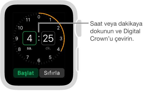 Saat ya da dakikaya dokunun ve sayacı ayarlamak için Digital Crown'u çevirin.