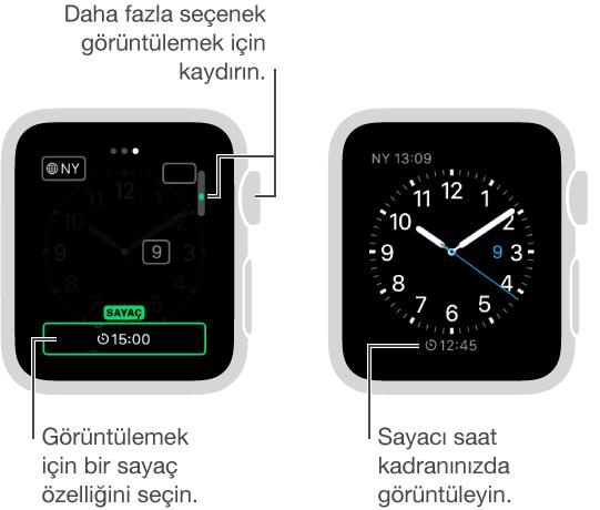Saat kadranının sayacı da içerecek şekilde değiştirilmesini gösteren iki ekran ve sayacı içeren saat kadranını gösteren diğer ekran.