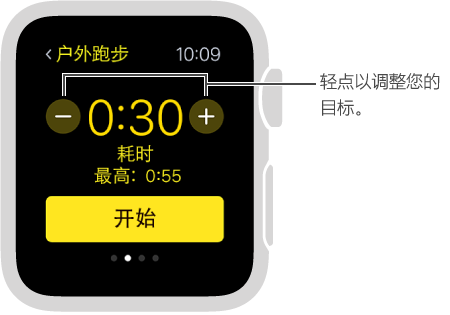 可以通过轻点加/减按钮来设定时间、距离或卡路里目标。