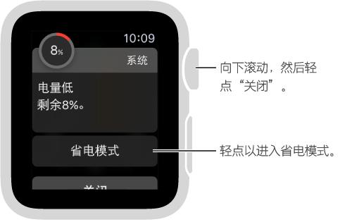 低电量提醒包括一个可以轻点以进入省电模式的按钮