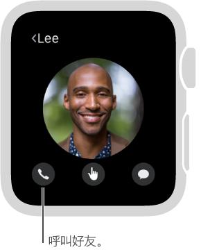 """显示所选朋友面孔的屏幕,面孔下方为电话、Digital Touch 和""""信息""""按钮。 轻点""""电话""""来呼叫这位朋友。"""
