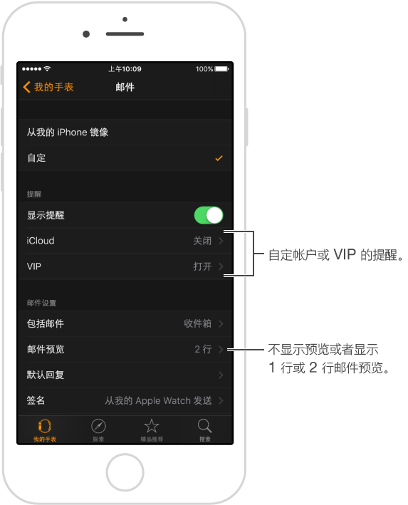 "iPhone 上 Apple Watch 应用中的""邮件""设置可让您调整旗标样式、邮件预览的长度等内容。"