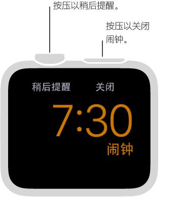 在床头钟模式下,按一下 Digital Crown 表冠可让闹钟稍后提醒,或者按一下侧边按钮可关闭闹钟。