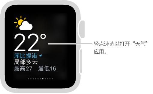 """打开的天气速览,轻点该视图可打开""""天气""""应用。"""