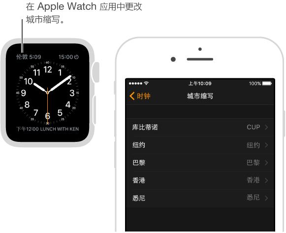 """横线指向伦敦时间的表盘,所使用的城市缩写为""""LON""""。 另一个屏幕显示 iPhone 上 Apple Watch 应用中的选项,您可以在此修改城市缩写。"""