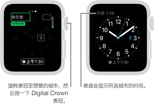 两个手表屏幕:一个显示将其他城市时间添加到表盘,另一个显示表盘上所显示的时间。