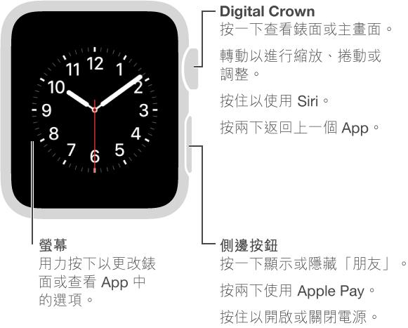 Apple Watch 的正面,在 Digital Crown / 主畫面按鈕帶有說明文字: 按一下檢視錶面或主畫面。 按兩下返回上一個 App。 按住以使用 Siri。 轉動以進行縮放、捲動或調整。 第二處說明文字位於側邊按鈕: 按一下顯示或隱藏「朋友」。 按兩下使用 Apple Pay。 按住以開機或關機。 第三處說明文字指向螢幕: 按一下更改錶面。 在 App 中,按以查看選項。