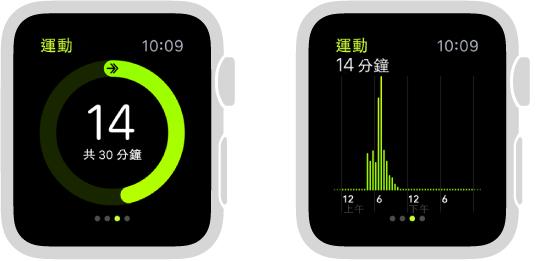 「體能訓練」進度以圓圈或「健身記錄」Glance 中的圖形顯示。