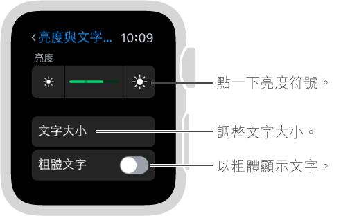 Apple Watch 上的亮度設定畫面,滑桿的兩端帶有亮度符號的說明文字: 點一下亮度符號;「文字大小」的說明文字: 調整文字大小;「粗體文字」的說明文字: 使文字變成粗體。