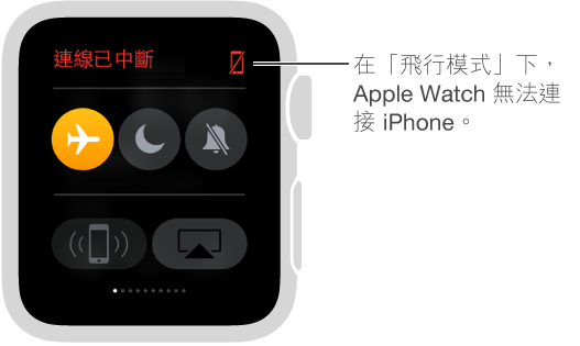 「設定」 Glance,你可以看見手錶及 iPhone 的連線狀態,並設定「飛行模式」、「請勿打擾」及「靜音」。 你也可以呼叫你的 iPhone。 「飛行模式」已選擇,狀態為「已中斷連線」。