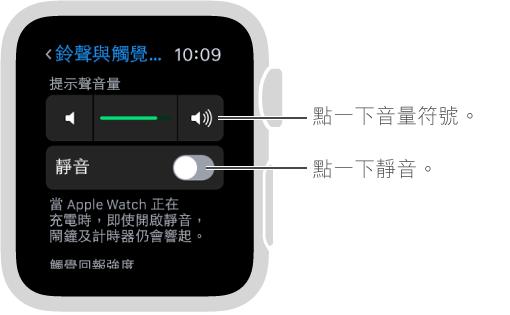 Apple Watch 上的「聲音與觸覺回報」設定畫面。 轉動 Digital Crown 或點一下音量符號以增加或減小鈴聲及提示聲的音量。 點一下「靜音」以讓 Apple Watch 靜音。