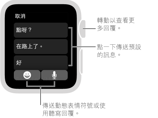 「訊息」畫面最上方顯示「取消」按鈕,帶有三種預設回覆(「怎麼了?」、「在路上了。」及「好」)。 底部有兩個按鈕: 「表情符號」及「咪高風」。