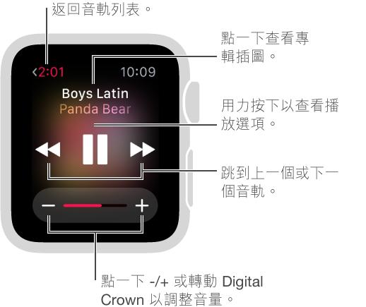 在播放音樂時,點一下左上角的「返回」按鈕以返回音軌列表。 「上一個音軌」、「播放/暫停」及「下一個音軌」按鈕位於螢幕中央。 轉動 Digital Crown 以調整音量。 按下螢幕以隨機播放或重複歌曲,或是從 iPhone 切換到 Apple Watch 上播放音樂。