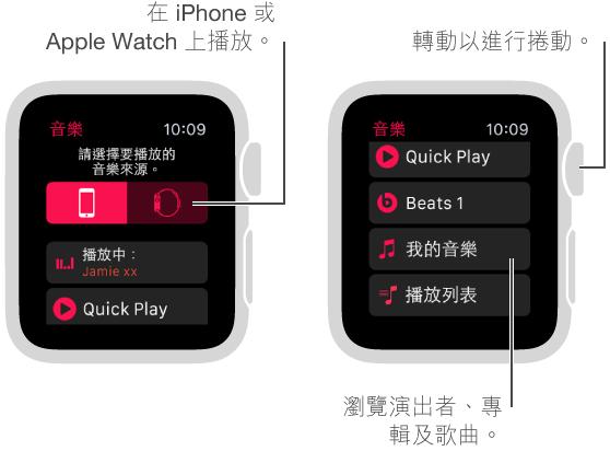 在主要的「音樂」螢幕中,捲動到頂部以查看來源按鈕。