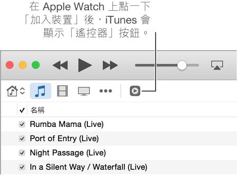 當你嘗試加入資料庫到 Apple Watch 時,「遙控器」按鈕會顯示在 iTunes 中。