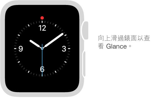 向上滑過任何錶面以查看 Glance。